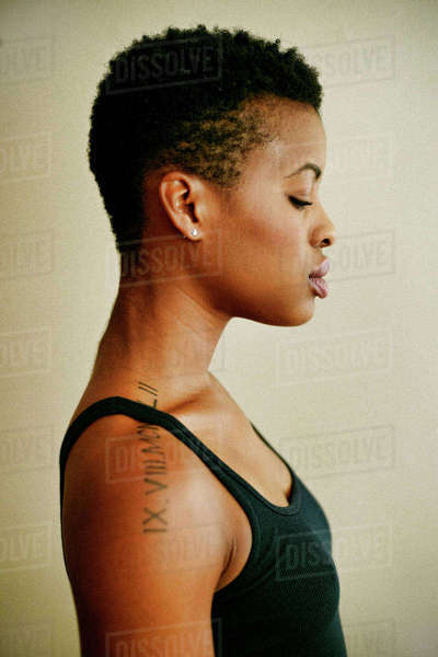 Profile of serious Black woman Royalty-free stock photo