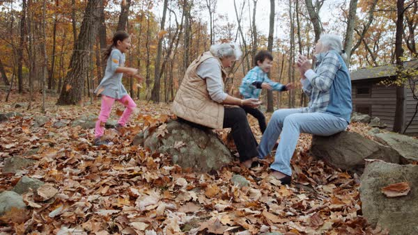 Grandchildren surprising grandmothers with autumn leaves near cabin Royalty-free stock video