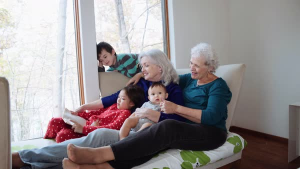 Grandmothers and grandchildren reading book on day bed Royalty-free stock video