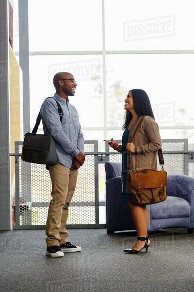 Man and woman carrying briefcases talking in lobby Royalty-free stock photo