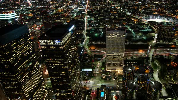 Skyscrapers and traffic at night, Los Angeles, California, United States Royalty-free stock video