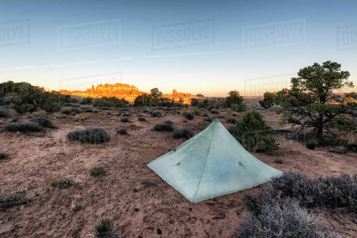 Tent in desert at sunset Moab Utah United States & Tent in desert at sunset Moab Utah United States - Stock Photo ...