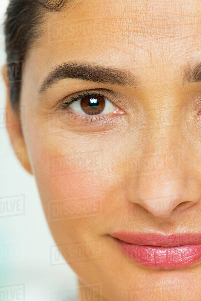 Close up of mixed race woman's face Royalty-free stock photo