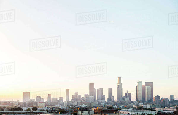 Los Angeles city skyline and clear sky, California, United States Royalty-free stock photo