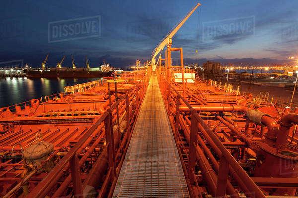 High angle view of deck piping on oil tanker ship Royalty-free stock photo