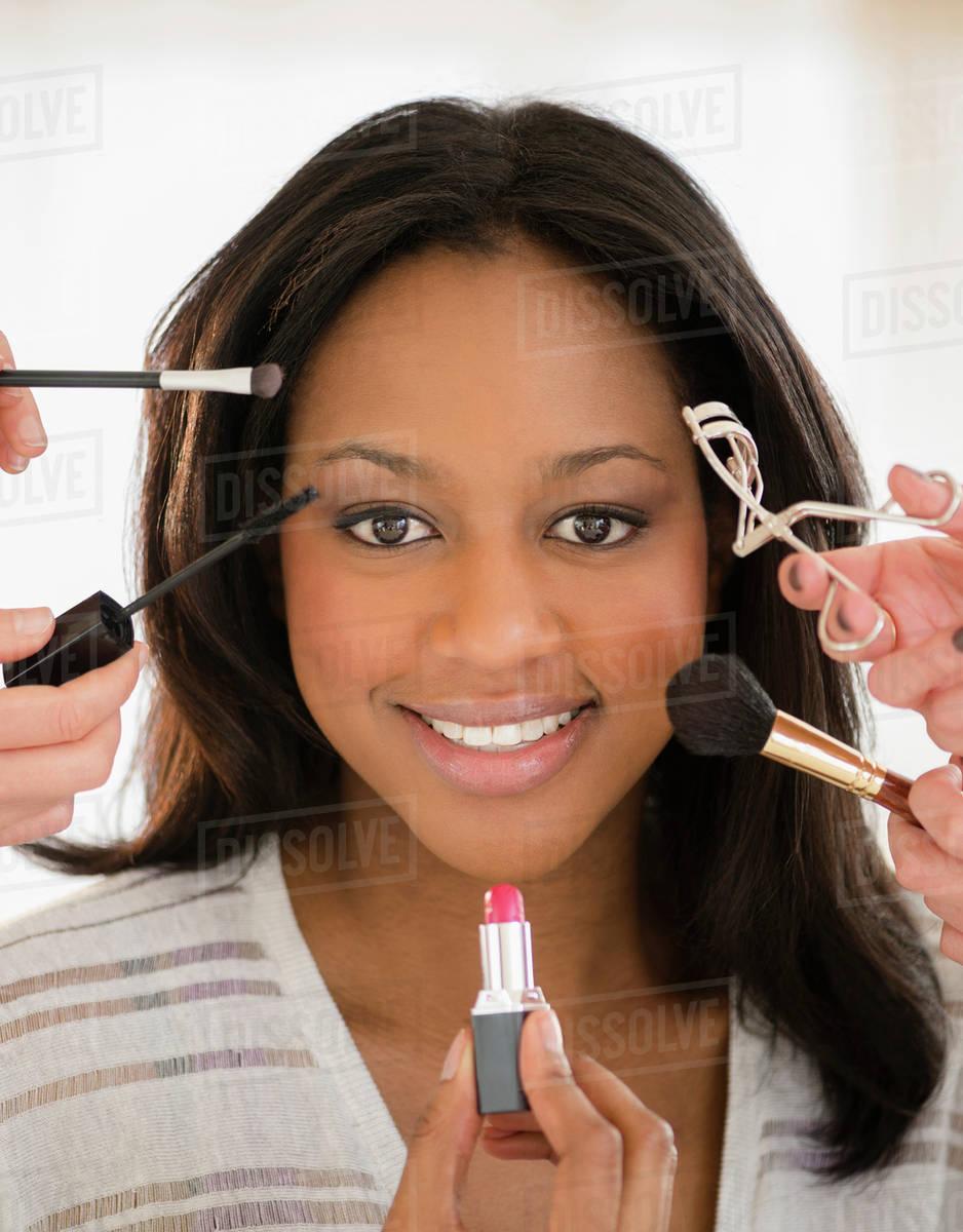 African American Woman Having Makeup
