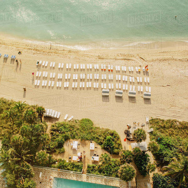 Aerial view of hotel pool and tropical beach Royalty-free stock photo