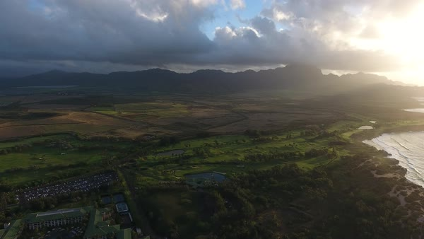 Drone shot of silhouettes of mountains in Hawaii Royalty-free stock video