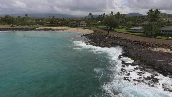 Drone shot of a beach in Hawaii Royalty-free stock video