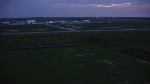 Drone shot of George Bush Intercontinental Airport at dusk, Houston, Texas, United States of America Rights-managed stock video