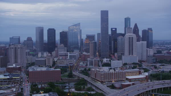 Aerial shot of modern Houston cityscape, Texas, United States of America Rights-managed stock video