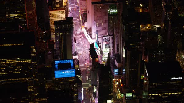 Aerial shot of Times Square at night Rights-managed stock video