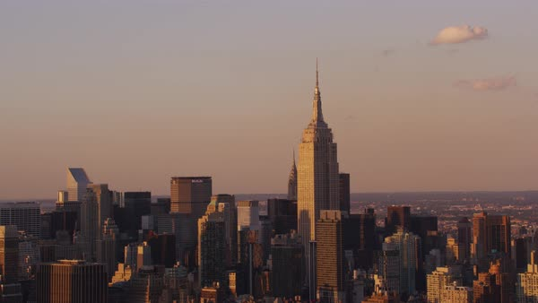 Aerial shot of Manhattan cityscape with Empire State Building Rights-managed stock video