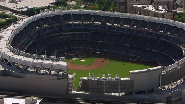 Aerial shot of Yankee Stadium Rights-managed stock video