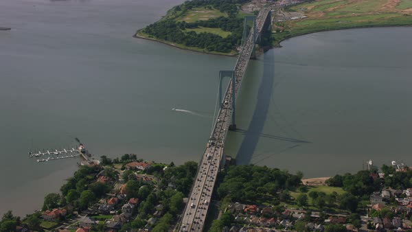 Aerial shot of Bronx-Whitestone Bridge over East River Rights-managed stock video