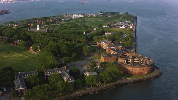 Aerial shot of Governors Island with Castle Williams in the foreground Rights-managed stock video