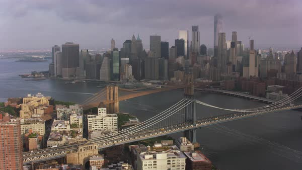 Aerial shot of New York cityscape with Brooklyn Bridge Rights-managed stock video