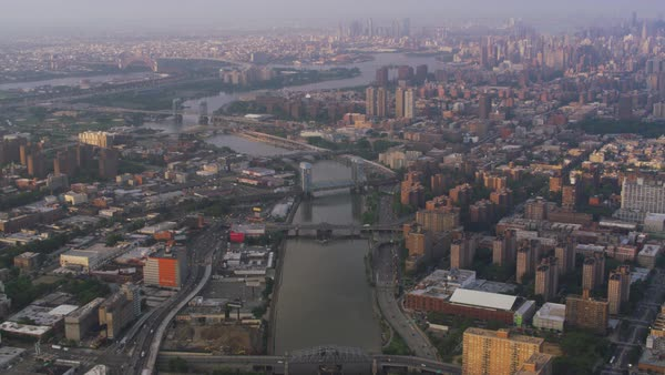 Aerial shot of New York cityscape seen from above Harlem Rights-managed stock video