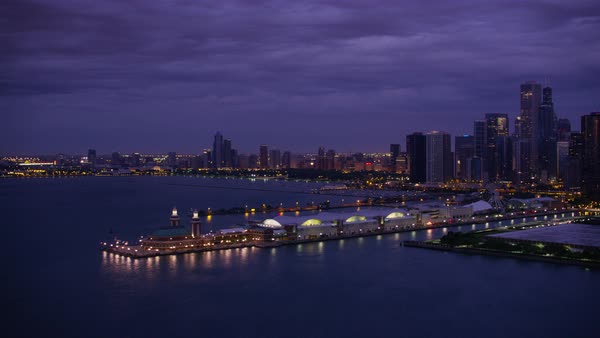 Aerial shot of Navy Pier in Chicago Rights-managed stock video