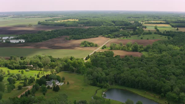 Aerial shot of a forested flatland with farmlands Rights-managed stock video