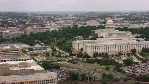 Aerial shot of Washington, D.C., moving from Capitol Building at the center Rights-managed stock video