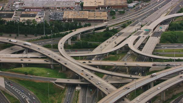 Aerial shot of the Springfield Interchange near Springfield, Virginia Rights-managed stock video