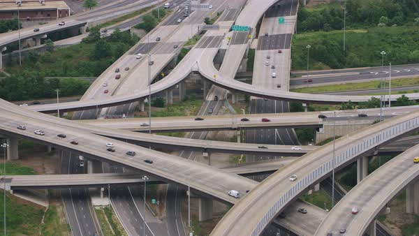 Zooming out aerial shot of the Springfield Interchange near Springfield, Virginia Rights-managed stock video