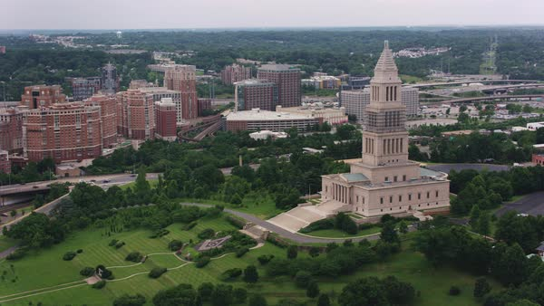 Aerial shot of George Washington Masonic National Memorial Rights-managed stock video