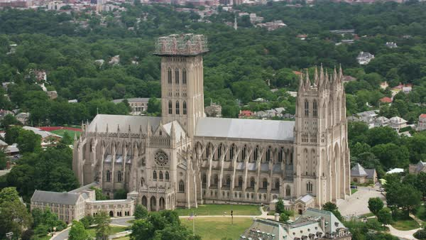 Aerial shot of Washington National Cathedral Rights-managed stock video