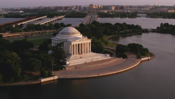 Aerial shot of Jefferson Memorial at sunset Rights-managed stock video