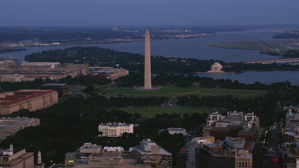 Aerial shot of Presidents Park with Washington Monument and Jefferson Memorial Rights-managed stock video