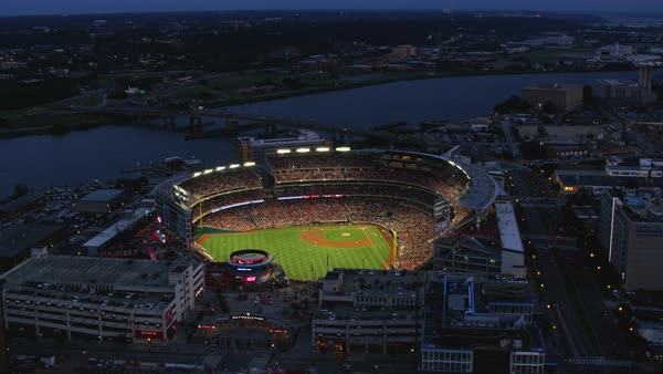 Aerial shot of a baseball match in Nationals Park Rights-managed stock video