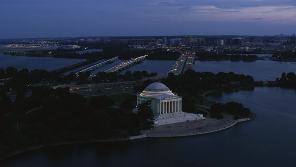 Aerial shot of Jefferson Memorial Rights-managed stock video