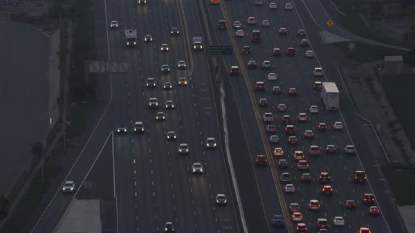 Aerial shot of traffic on a highway Rights-managed stock video