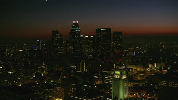 Aerial shot of downtown Los Angeles Rights-managed stock video