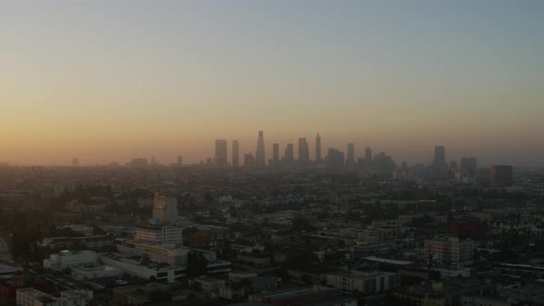 Aerial shot of skyline of Los Angeles Rights-managed stock video