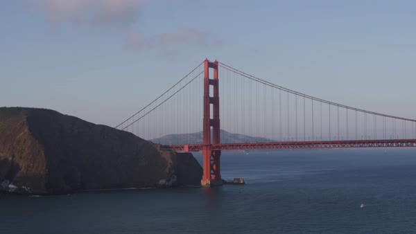 Aerial shot of Golden Gate Bridge Rights-managed stock video