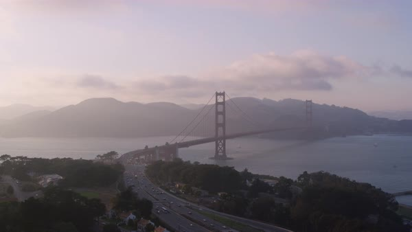 Aerial shot of Golden Gate Bridge at dusk Rights-managed stock video