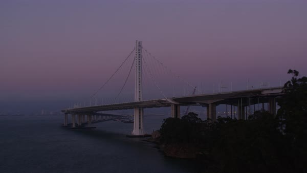 Aerial shot of a pillar of San Francisco-Oakland Bay Bridge Rights-managed stock video