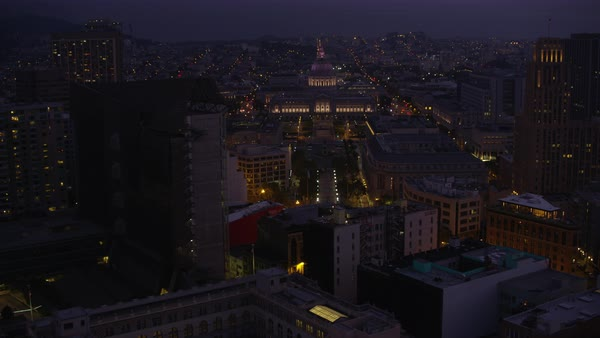 Push-in shot of illuminated San Francisco City Hall Rights-managed stock video