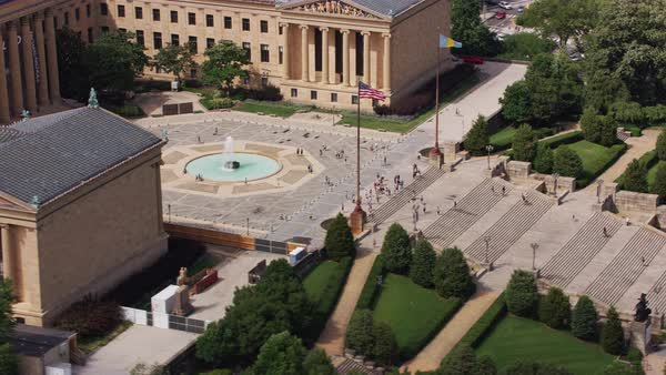 Aerial shot of Philadelphia Museum of Art Rights-managed stock video