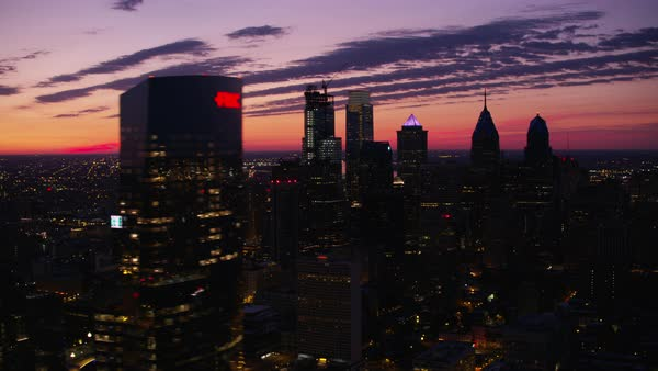 Aerial shot of downtown Philadelphia at sunrise Rights-managed stock video