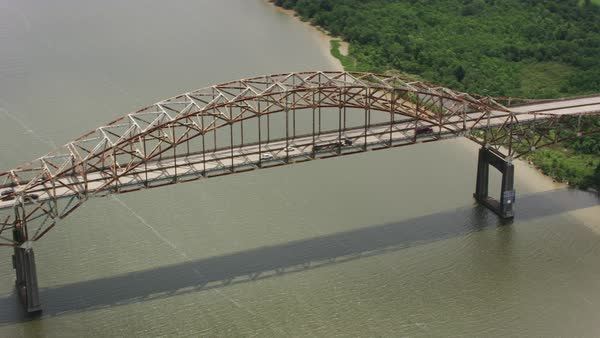 Aerial shot of Green Bridge crossing Mississippi River-Gulf Outlet Rights-managed stock video