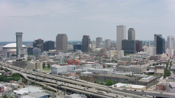 Aerial shot of downtown New Orleans cityscape Rights-managed stock video