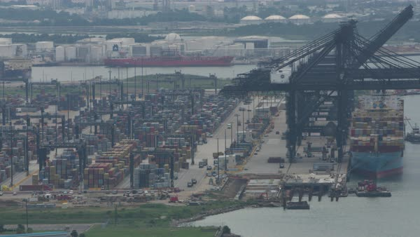 Aerial shot of a commercial harbor in Louisiana Rights-managed stock video