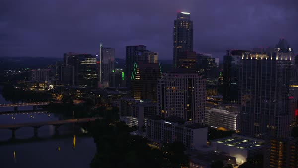 Aerial view of modern cityscape of Austin Rights-managed stock video