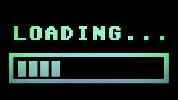 8-bit retro style loading text with progress bar, with color hue (shift). Royalty-free stock video