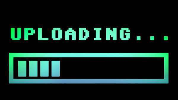 8-bit retro style uploading text with progress bar, with color hue (shift). Royalty-free stock video