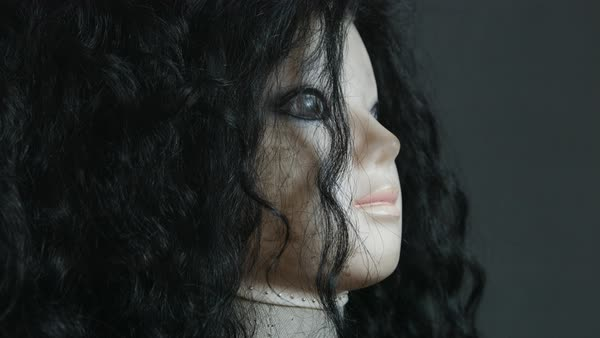 Close-up of a doll with black hair Royalty-free stock video