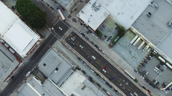 Aerial shot of vehicles moving on a busy city street Royalty-free stock video